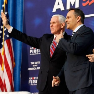 Vice President Mike Pence with Kentucky Gov. Matt Bevin. Credit to Charles Bertr